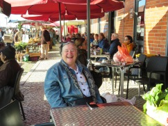 Miss Gwen enjoying her market time, people watching, shopping and just absorbing the energy of it all.