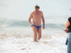This old fella put us all to shame......not only his sporting of a speedo but also, he went into the surf for a lengthy swim and as far as I could see, didn't get a goosebump.