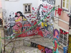 Climbing the old winding stairway up to CasteloSão Jorge and some of the wonderful wall art we got to enjoy