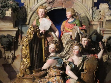 Each figure in this massive nativity scene is about 12 inches tall. Handmade and painted terra cotta.