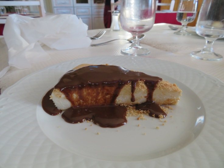 A baked cream and chocolate dessert.
