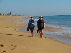 Two very happy campers enjoying the sea, sand and occasional wave that caught them off guard!