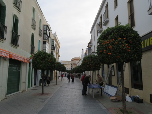 This is our first view as we disembark and walk towards the main square. Very pretty with the decorative Seville orange trees.