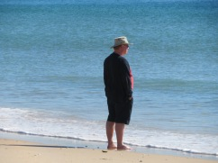 Gary enjoying the sand and sea on his toes.