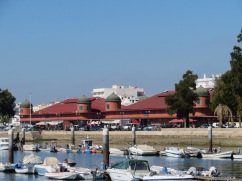 The beautiful Olhão market building from the water.