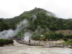 This is not mist.....the crater of Furnas with its bubbling pools and cooking holes