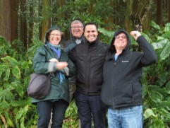 Parr, Marc,Rui and Gary. We are hiding under a large tree from a sudden downpouring.
