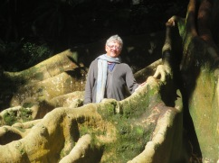 A close-up of Marc standing in the roots of the tree