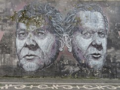 This wall art captured my eye. I would love to know who they are and why they adorn a wall in Ponta Delgada