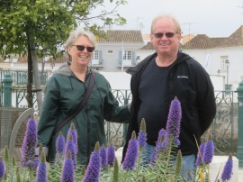 Patricia and Gary, enjoying a walkabout and this gorgeous bed of flowers.