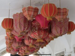 I love this lampshade covered ceiling in the portico of an old refurbished patio.