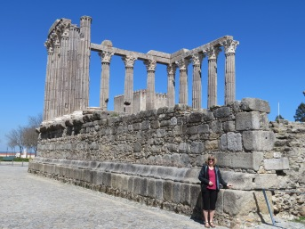 Laurie at the Roman Temple of Évora (also called the Temple of Diana).