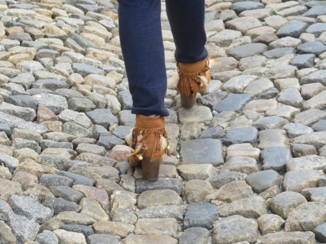 These boots were made for walking on cobblestone streets. I kept expecting her to fall over.