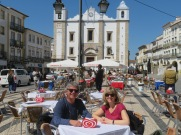Marc and Laurie on the main square at Evora.