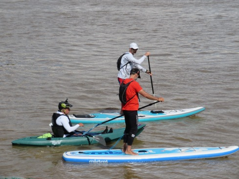 Having a friendly race on the Guadiana.