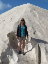 Laurie in the salt pile......she climbed up and she even tasted!