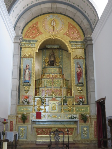 Inside the church, which was open and empty.