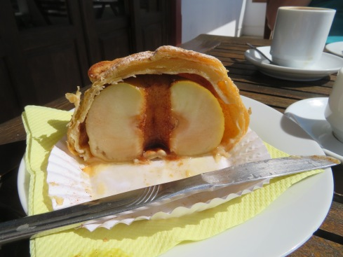 Our first stop in Alte was for our special baked apple stuffed in pastry and a hot coffee, all the while with a wonderful view.