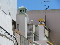 Chimneys in Olhão and the clear Moorish influences.