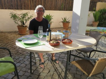 And finally, a wonderful meal on our patio at home. Cold roasted chicken, beet and blue cheese salad and a wonderful tomato salad. We promised ourselves we would eat one each day from now till home..