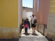 Gwen and I, making our way slowly up the stair way towards home. That's what happens on a hot afternoon after a lovely cold beer! You simply can't move quickly!!