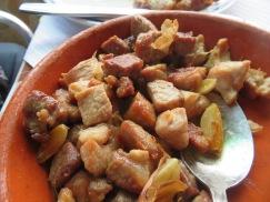 Porc with garlic.
