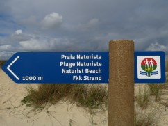 One of the new signs announcing the nudist section of the beach.
