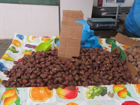 Fresh chestnuts are readily available and incredibly cheap. You could purchase them fresh, like this batch, or roasted.