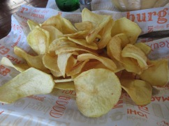 Home made chips!! crispy and salty. Yum