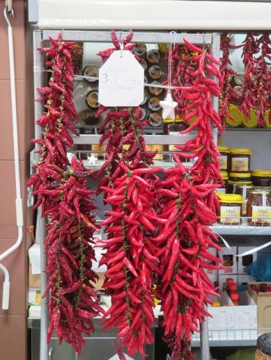 A large bunch of piri piri peppers.