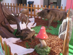 I love that the wild boar showed up in the Christmas village!!