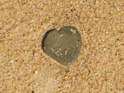 This perfect heart shaped stone on the beach.....we left it alone so others could stumble on it and enjoy it as much as we did.