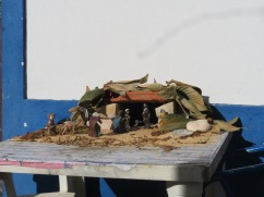 This lovely creche was sitting on a table near a front door.