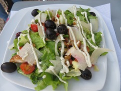 Marc opted for a special salad with chicken, shaved Parmesan, olives etc.. He was a happy human!