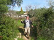 We enjoyed a marvelous walk, explored a new pathway......Marc looks as if he is holding up his hand complaining that his glass is empty!!!!