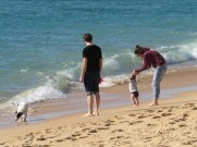 I liked seeing this family. The dog ran, happily barking into the sea while the baby was a bit more reluctant.