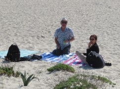 Enjoying their picnic....Diane was smart, she packed a beer!!!