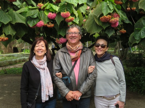 Diane, Marc and Lise posing for me under the hydrangea tree.