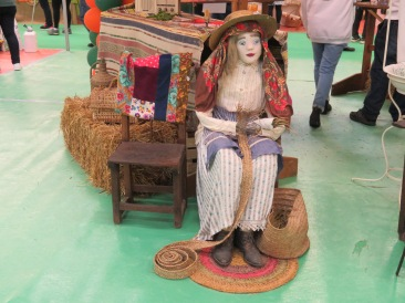 A mannequin supposedly basket weaving....I think!