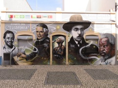 This homage to Portuguese musicians and poets lined the wall of a tiny nightclub.