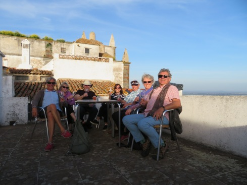 Our crew enjoying the roof top patio and the vino.
