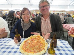 We opted to eat before we headed into the actual festival. Didn't want to shop on an empty stomach!! Marc and Diane shared this pizza.