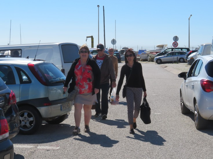 The shoppers returning to the car.