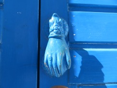 Loved the blue door knockers.