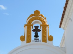 The bell tower on St. Sebastian Church