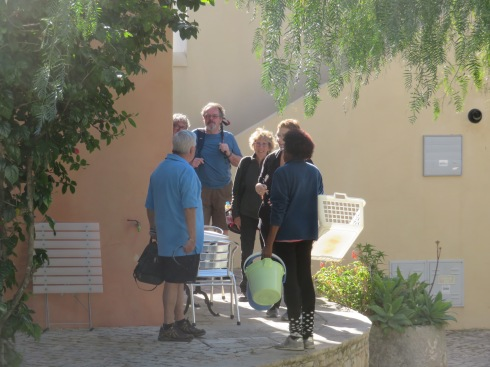 I love the light in this photo as we were getting ready to head out. I also love the sense of community I feel when I see the moment of conversation and pleasantness captured. It depicts for me the essence of our time here at the quinta.