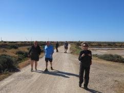 Patricia, Jean, Joanne, Louis Denis and Louise. Maneuvering the salt flats onroute to Fuzeta.