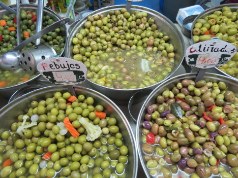 I found the old market and returned home with two fairly large bags filled with two different kinds of olives. We just enjoyed a bowl of them with Marc's amazing curried meatballs.