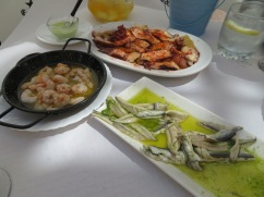 Sauteed Prawns, Galician Style Octopus and Fresh Anchovies in Garlic. This with our white sangria turned out to be a perfect hot day menu.