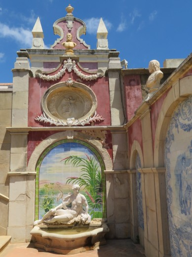 Some of the tile work near the fountain.